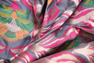 Ash Grey Banarasi Silk Unstitched Blouse Fabric-1.05 MTR