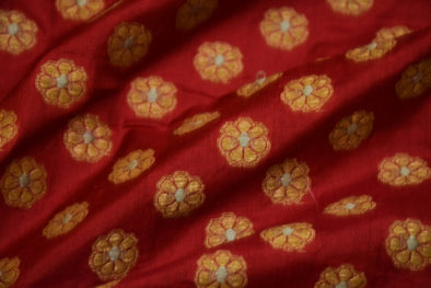 Maroon Banarasi Silk Unstitched Blouse Fabric-80CM