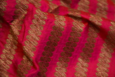 Shocking Pink Banaras Silk Unstitched Blouse Fabric-1.10MTR