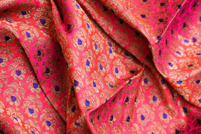 Royal Pink Banarasi Silk Unstitched Blouse Fabric-90CM