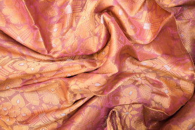 Dusty Pink Banarasi Silk Unstitched Blouse Fabric-80 CM