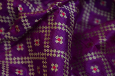 Electric Purple Banarasi Silk Unstitched Blouse Fabric-80 CM