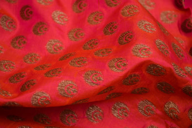 Royal Pink Banarasi Silk Unstitched Blouse Fabric-80 CM