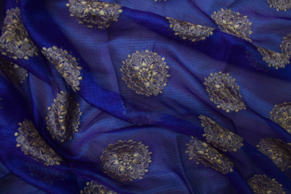 Persian Blue Kota Silk Embroidery Unstitched Kurti Fabric-2.6MTR