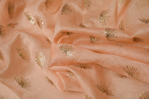 Light Peach Chanderi Embroidery Unstitched Kurti Fabric-2.5MTR