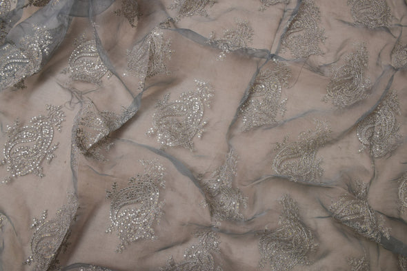 Dusky Pastel Blue Organza Unstitched Embroidery Kurti Fabric-2.4MTR