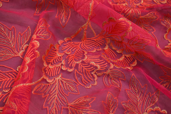 Hot Pink Organza Embroidery Unstitched Blouse Fabric-1.45MTR