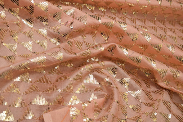 Light Peach Chanderi Embroidery Unstitched Blouse Fabric-80CM