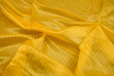 Yellow Raw Silk Unstitched Blouse Fabric With Checks-1MTR