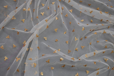 White Net Embroidery Unstitched Blouse Fabric-80CM