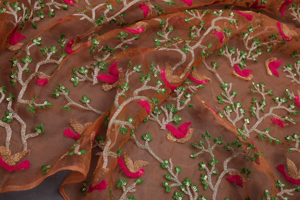 Pastel Orange Organza Embroidery Unstitched Blouse Fabric-90CM