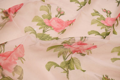 Patel Pink Printed Organza Unstitched Blouse Fabric-1.4MTR