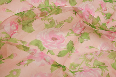 Flamingo Pink Printed Organza Unstitched Blouse Fabric-1.2MTR