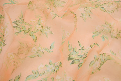 Peach Printed Organza Unstitched Blouse Fabric-80CM