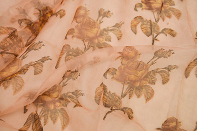Pastel Orange Printed Organza Unstitched Blouse fabric-85CM
