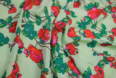 Mint Green Printed Satin Georgette Unstitched Blouse Fabric-90CM