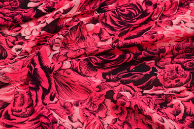 Fuchsia Pink Printed Georgette Unstitched Blouse Fabric-85CM