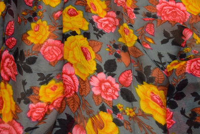 Dark Grey Printed Chiffon Unstitched Blouse Fabric-85CM