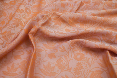 Shades of Orange anf Grey Jacquard Unstitched Blouse Fabric-1.5MTR
