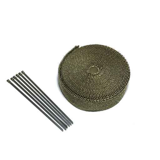 1in x 15ft/5m Titanium Exhaust Header Pipe Heat Wrap With Steel Ties Kit