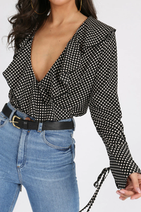 Black Polka Dot Bodysuit