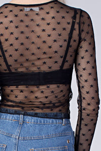 Star Detail Mesh Top