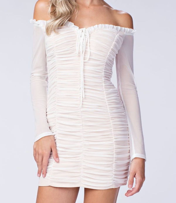 Ruched Off the Shoulder Mini Dress