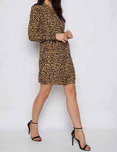 Leopard Wrap Tailored Dress