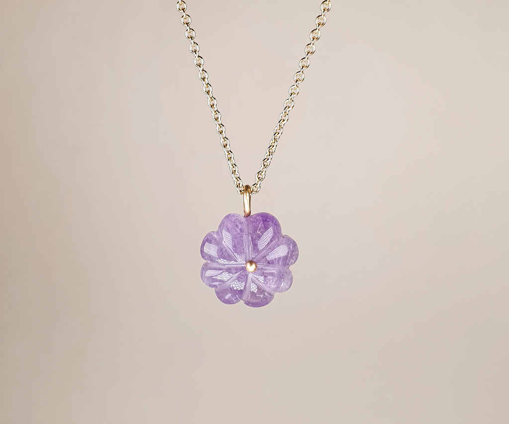 Carved Amethyst Flower Necklace Molo Me