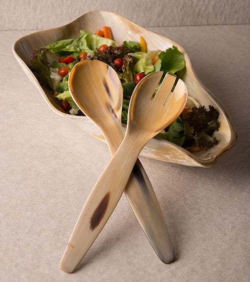Cow Horn Salad Servers
