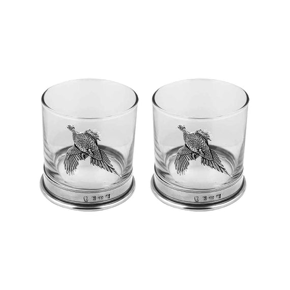 English Pewter Pair Pheasant Tumblers
