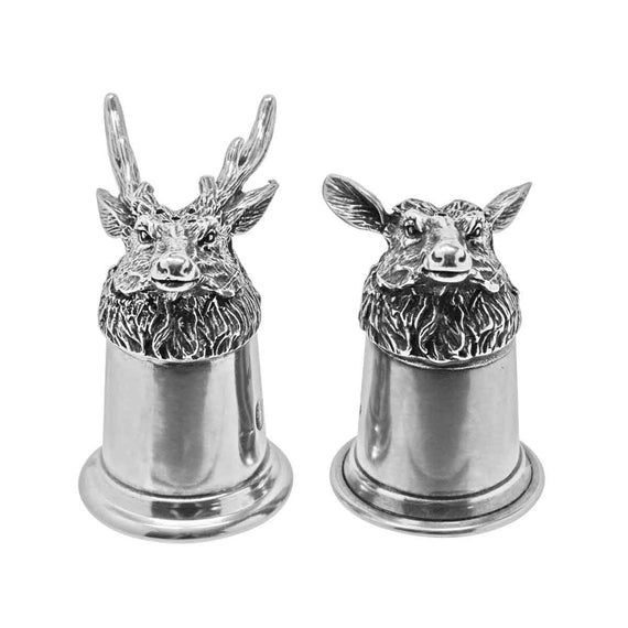 English Pewter Stag Cruet Set