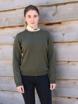 Cashmere Round Neck - Army Green
