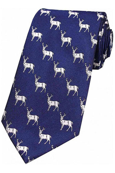 Tie - Navy with Silver Stag