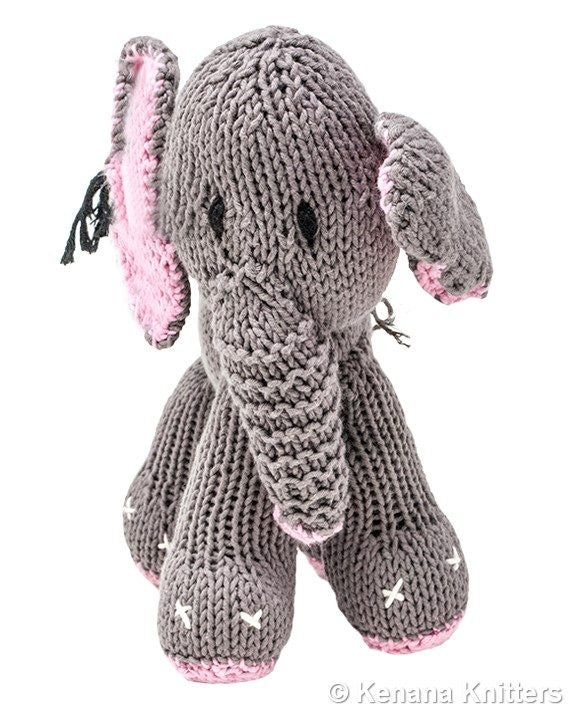 Knitted Cotton Bush Baby Elephant (Small)