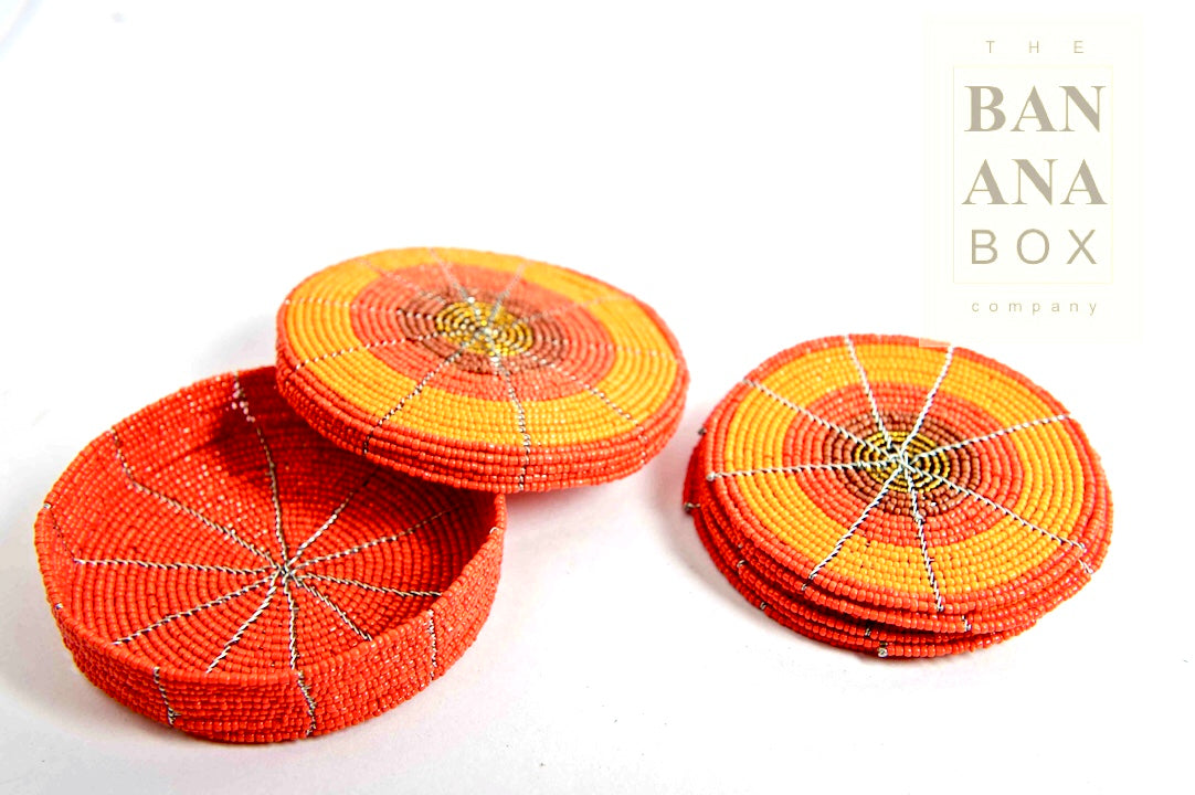 BEADED COASTERS (Set of Six)