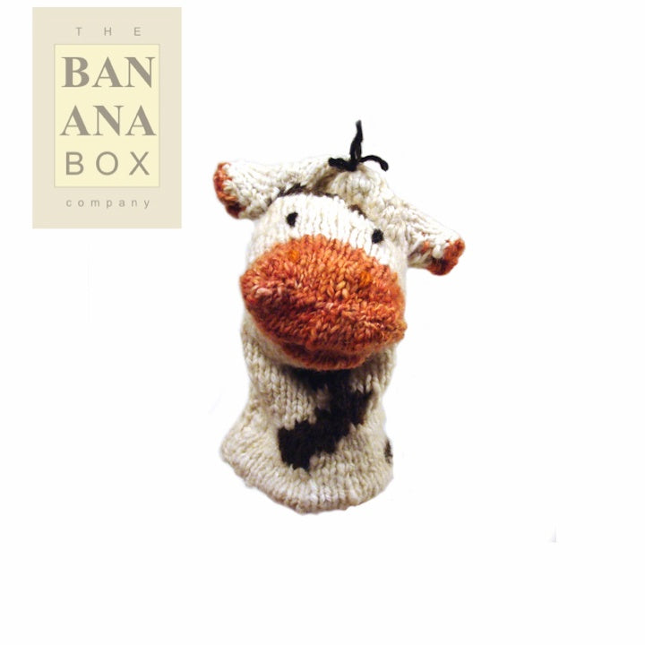 KNITTED GLOVE PUPPET (COW)