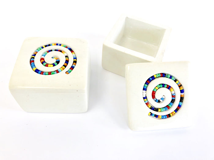 SOAPSTONE BEADED SPIRAL BOX (Small)