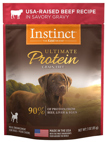 Nature's Variety Instinct Ultimate Protein Grain Free Beef Recipe Wet Dog Food Topper Pouch