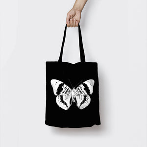 BLUE MORPHO BUTTERFLY BLACK TOTE