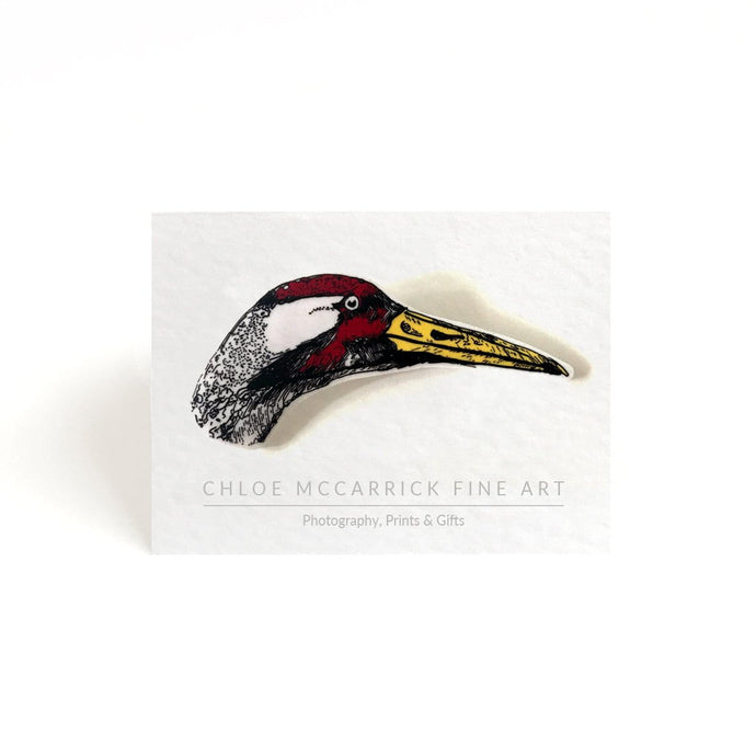 RED FACED CRANE BROOCH