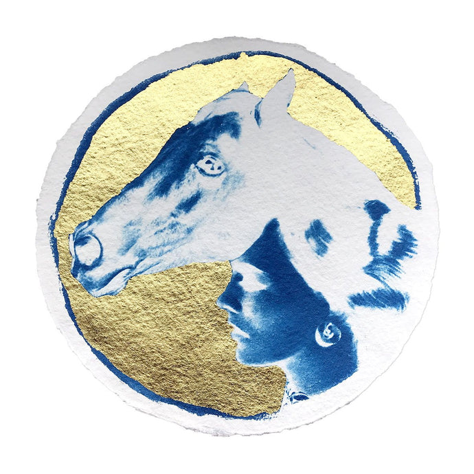 Circular Cyanotype with 24ct gold leaf on handmade paper. Inspired by Boudicca, portrait of a warrior queen with a horses head.