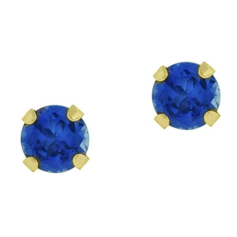 Image of 10K Gold 4mm Round-shaped Gemstone Stud Earrings