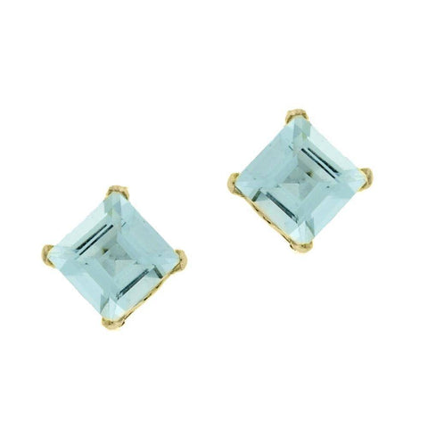 10K Gold 4mm Square-shaped Gemstone Stud Earrings