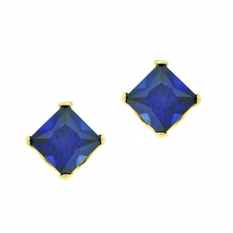 Image of 10K Gold 4mm Square-shaped Gemstone Stud Earrings