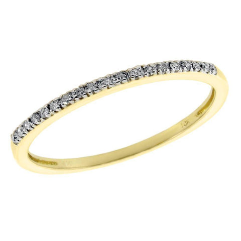 10K Gold Stackable Band with Diamond Accent
