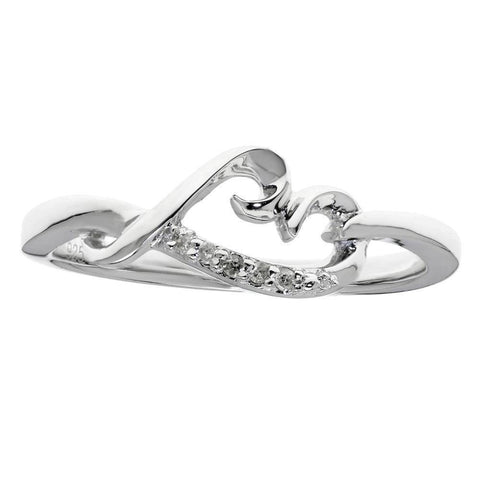 Sterling Silver Tilted Heart Ring with Diamond Accent