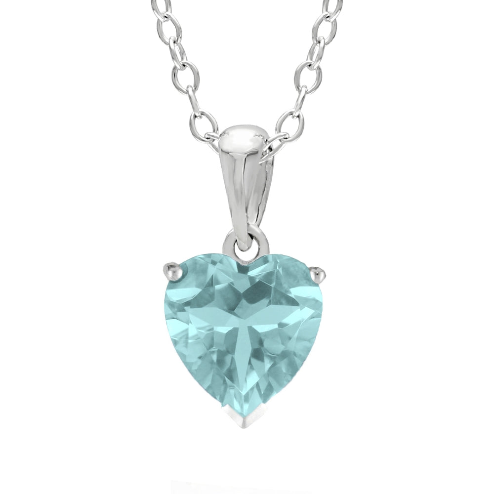Lavari - Heart-Shaped 6MM Birthstone and White Topaz Sterling Silver Pendant