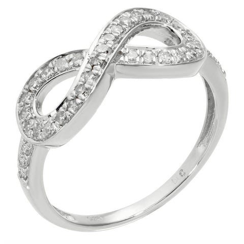 Image of Sterling Silver 1/3 ct. TDW Diamond Sideways Infinity Ring