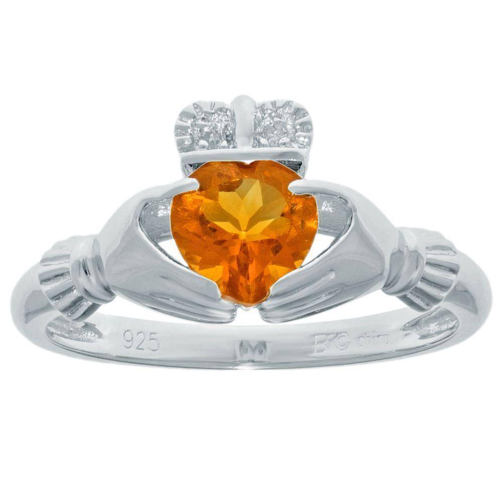 Sterling Silver Heart-Shaped Birthstone Claddagh Ring with Diamond Accent